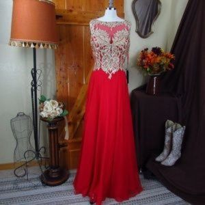 BICICI & COTY Red & Gold Cocktail Gown Size M